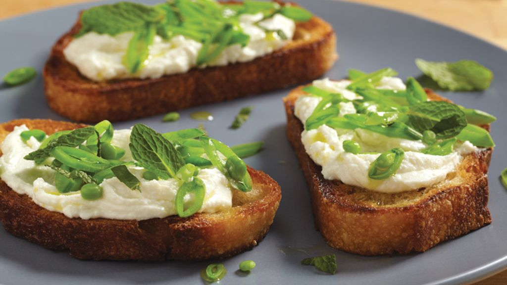 Crostini with Ricotta, Sugar Snap Peas and Mint