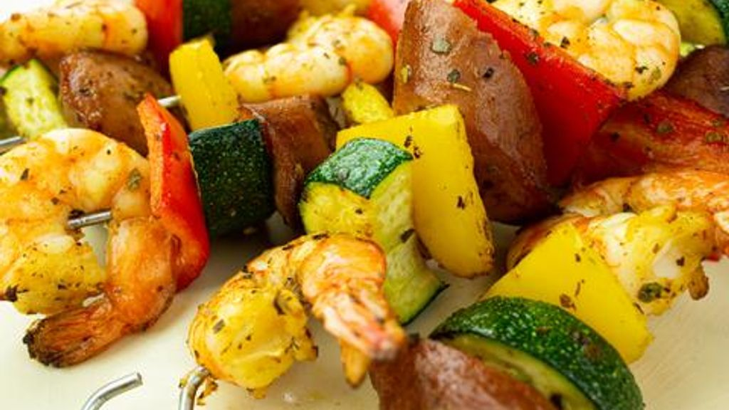 Cajun Shrimp & Sausage Veggie Skewers