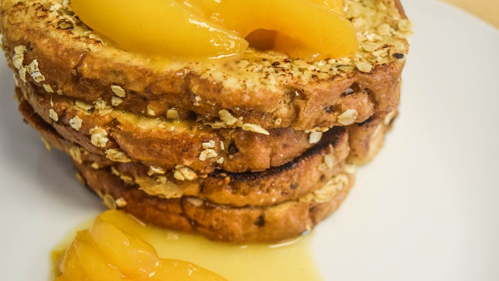 Oatmeal Crusted French Toast with Honey-Glazed Peaches