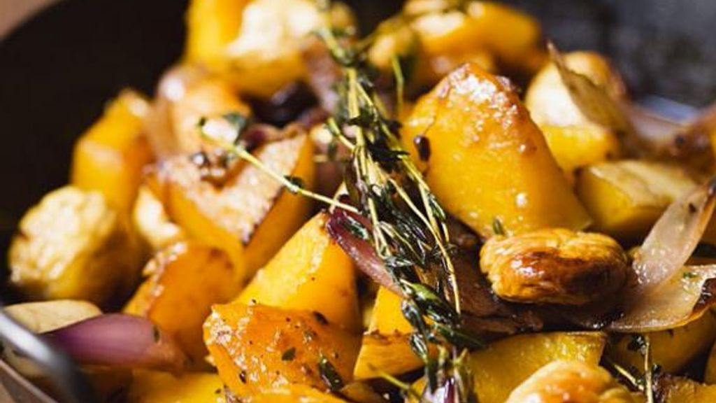 Pumpkin with Chestnuts and Onions