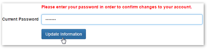 Current Password Confirmation