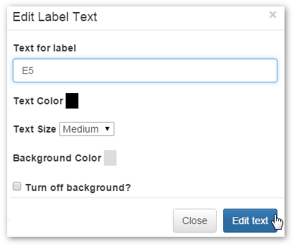 Edit Label Text Window