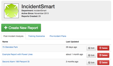 updated IncidentSmart user dashboard