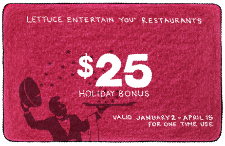 red Holiday Bonus gift card