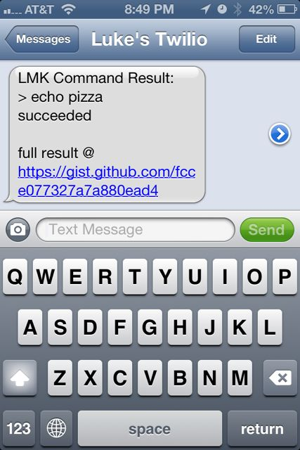 example of an SMS from LMK