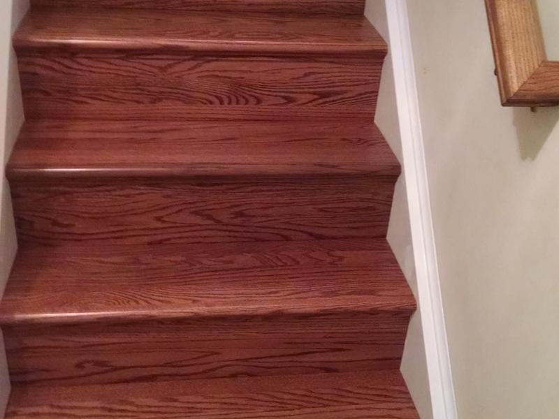 "Before and after image for 36"" Retro Fit Red Oak Tread & Riser"
