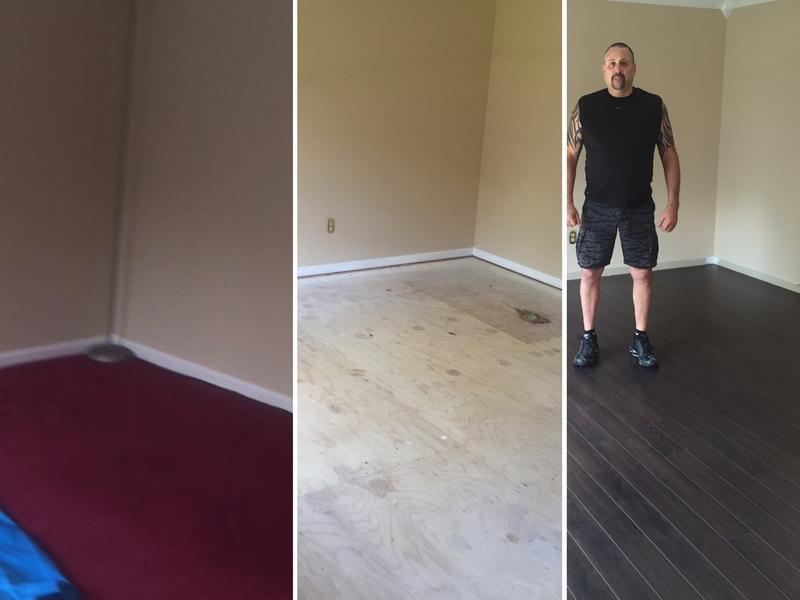Before and After Image for 10mm+pad Cascade Falls Oak Laminate Flooring'