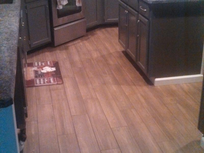 """Before and after image for 36"""" x 6"""" Brindle Wood Natural Porcelain Tile"""