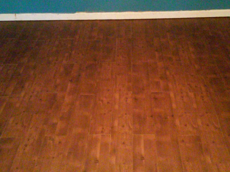 Before and after image for 2mm King County Knotty Oak Luxury Vinyl Plank Peel and Stick Flooring