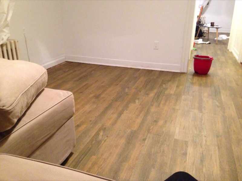 Before and after image for 1.5mm North Perry Pine Peel & Stick Luxury Vinyl Plank Flooring