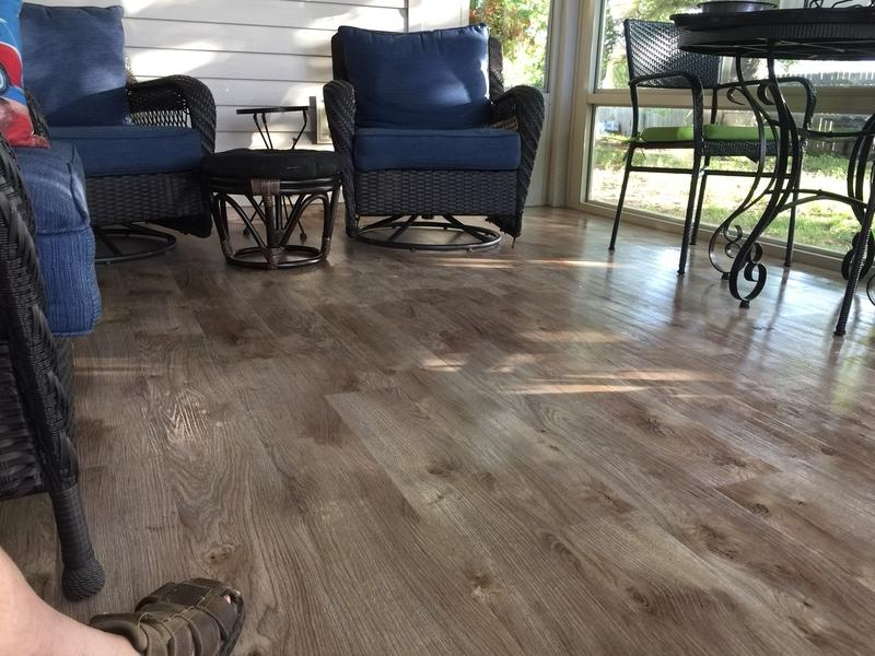 Before and after image for 5mm Riverwalk Oak Luxury Vinyl Plank Flooring