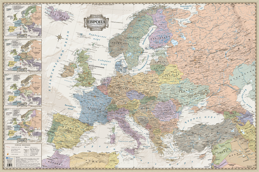 Europe Wall Map - Retro/Antique Style (in Russian)
