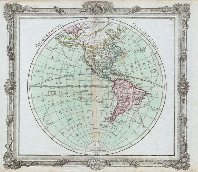 Brion de la Tour Map of the Western Hemisphere (1764)