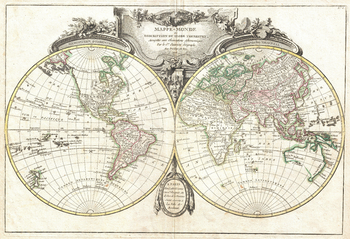 Lattre and Janvier Map of the World on a Hemisphere Projection (1775)