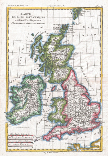 Raynal and Bonne Map of British Isles (1780)