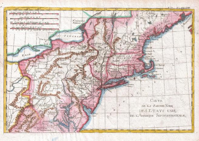 Raynal and Bonne Map of Northern United States (1780)