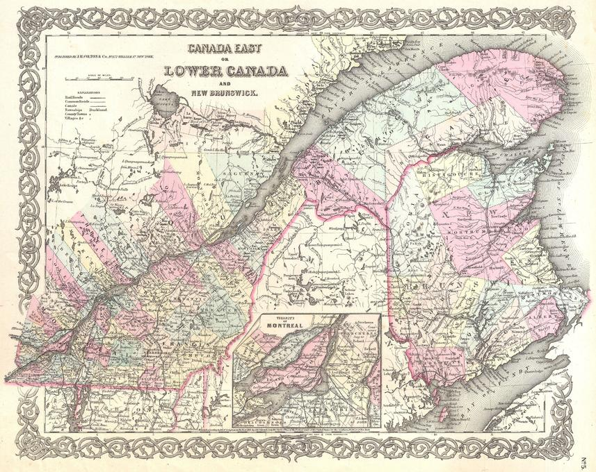 Colton Map of Canada East or Quebec (1855)
