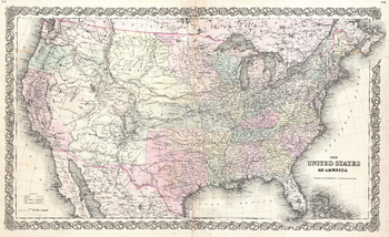 Colton Map of the United States (1855)