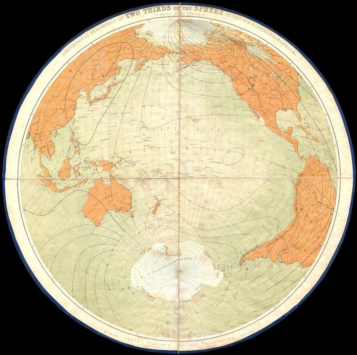 James Polar Projection of the Globe, Pacific Center (1860)