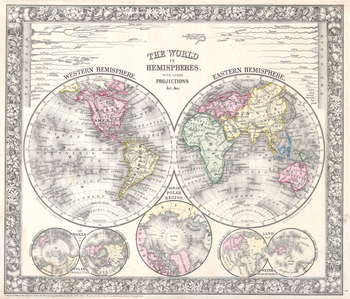 Mitchell Map of the World on Hemisphere Projection (1864)