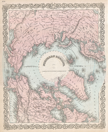 Colton Map of the North Pole or Arctic (1872)