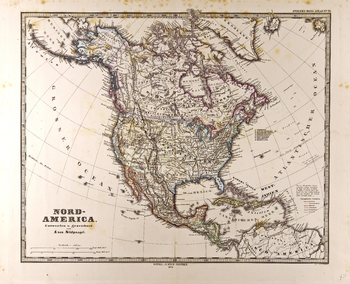 North America Map in German - Gotha Justus Perthes 1872 Atlas