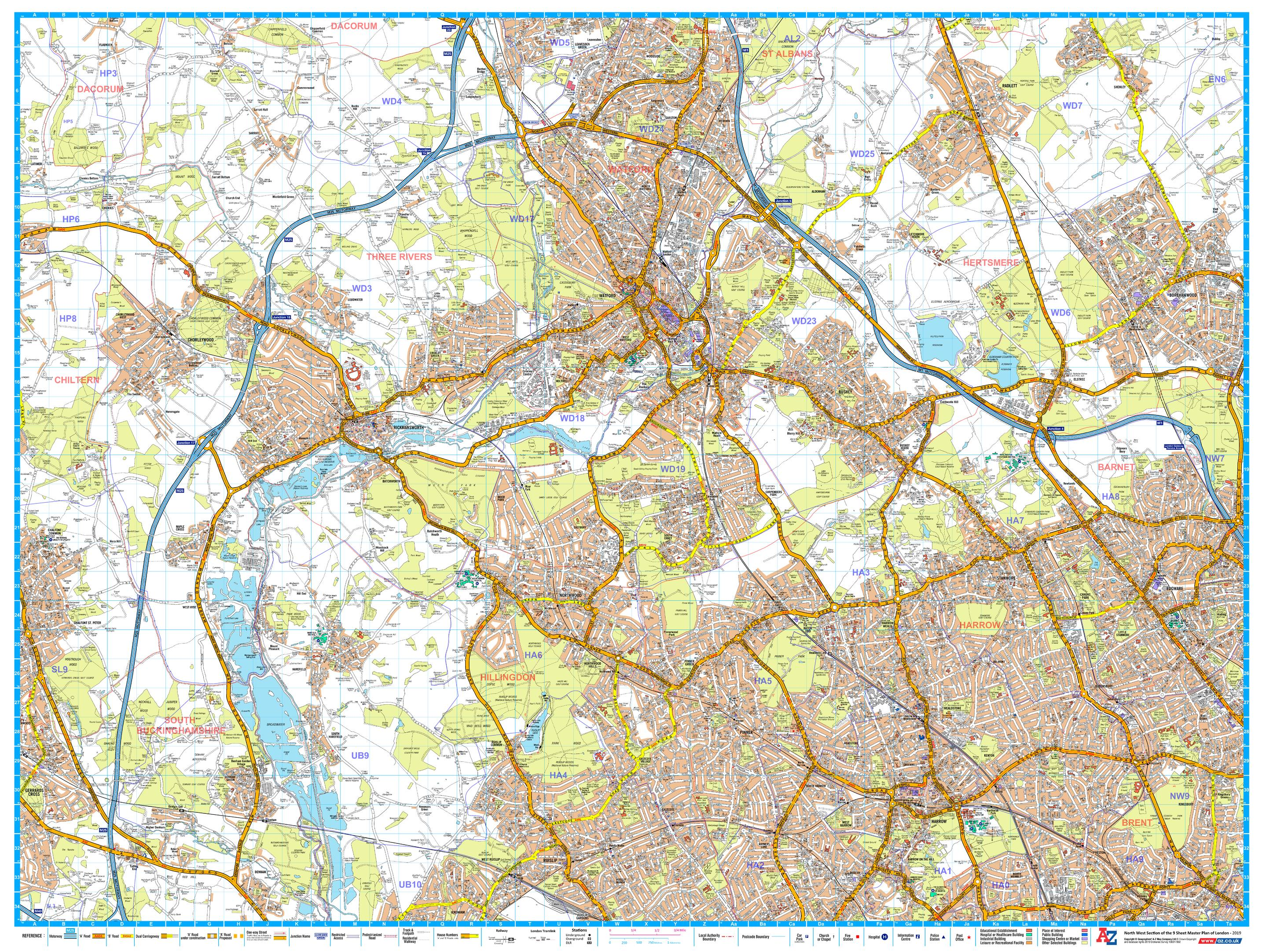 Az Street Map Of London.A Z London Master Plan North West