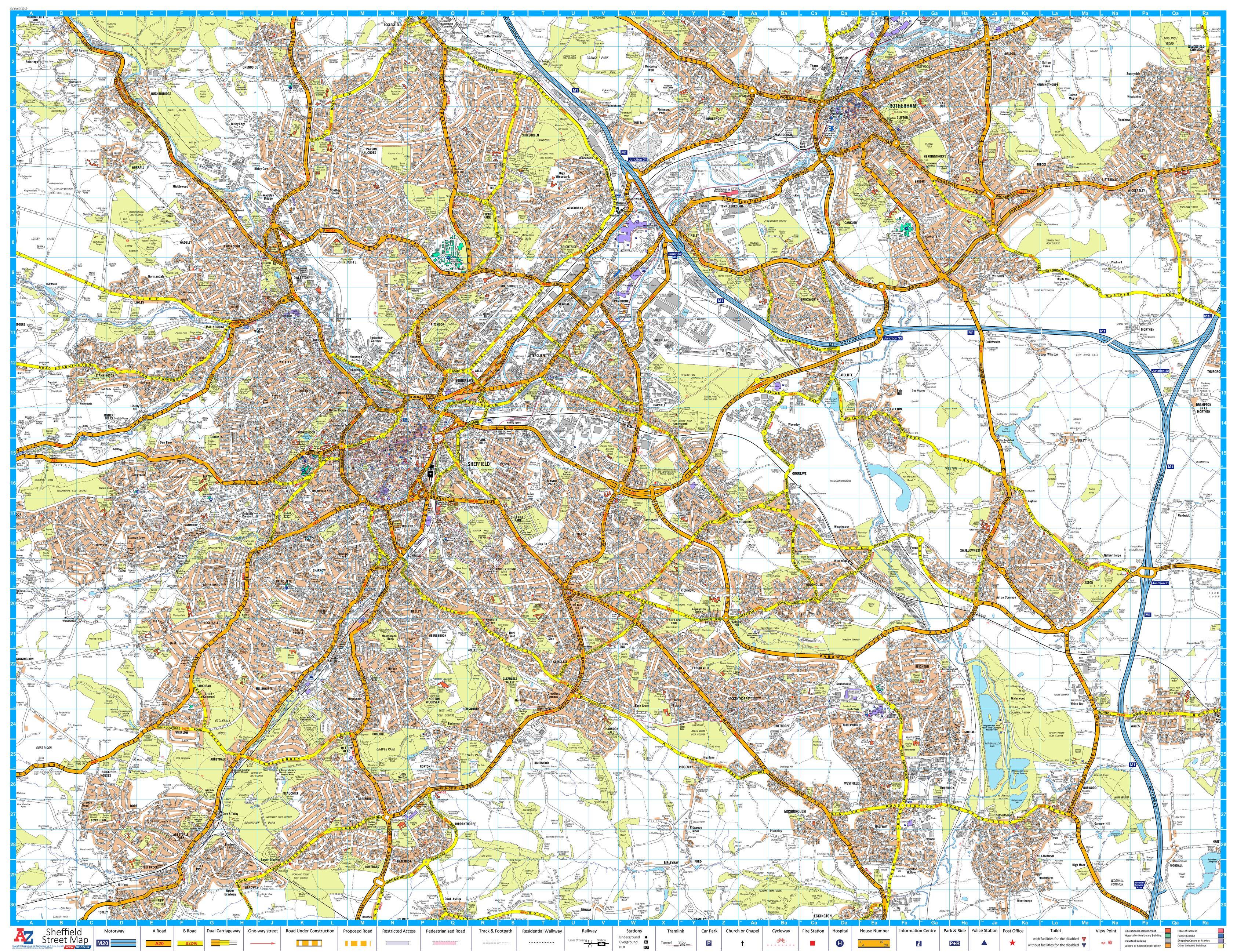 A-Z Sheffield Street Map