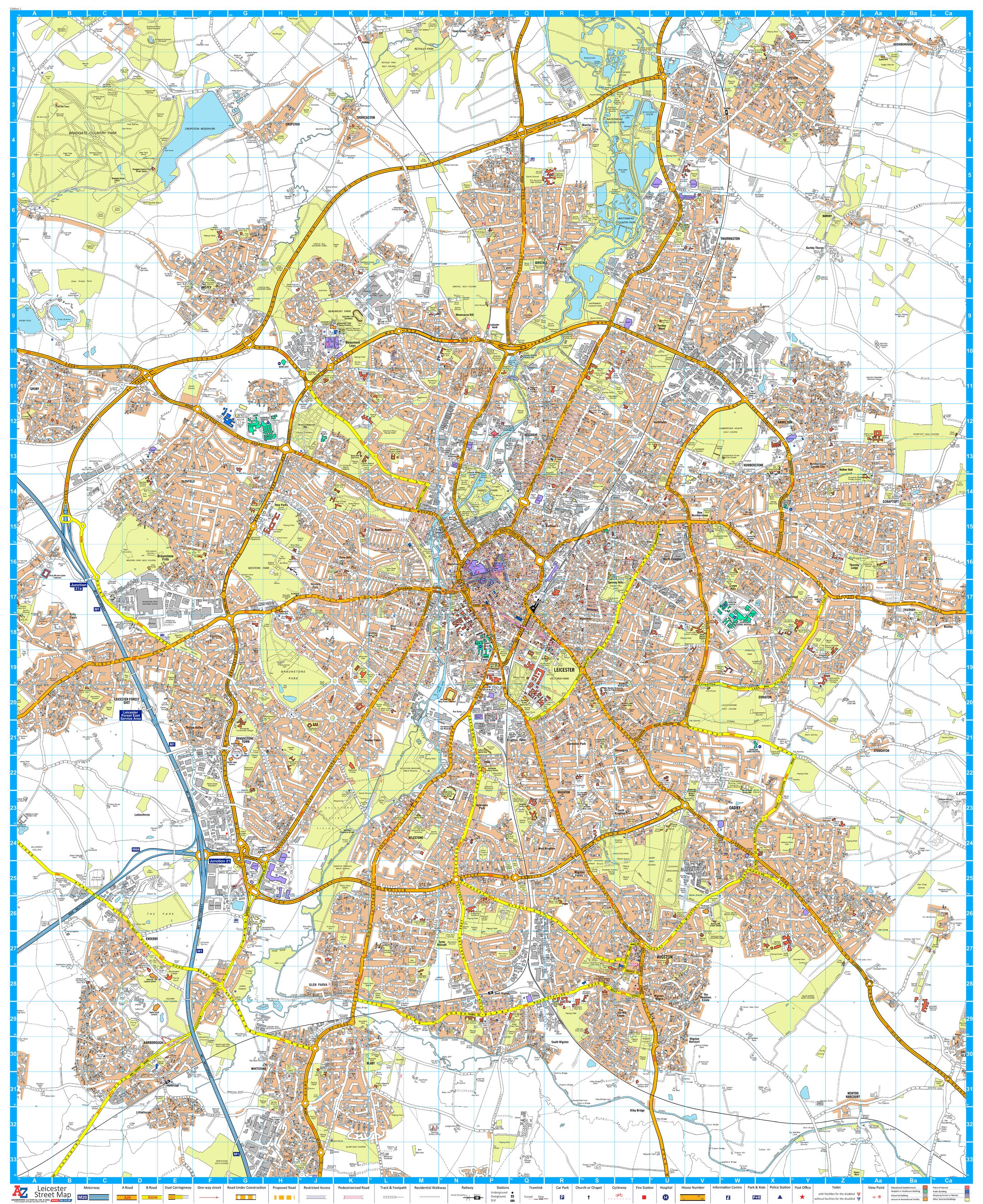 A-Z Leicester Street Map