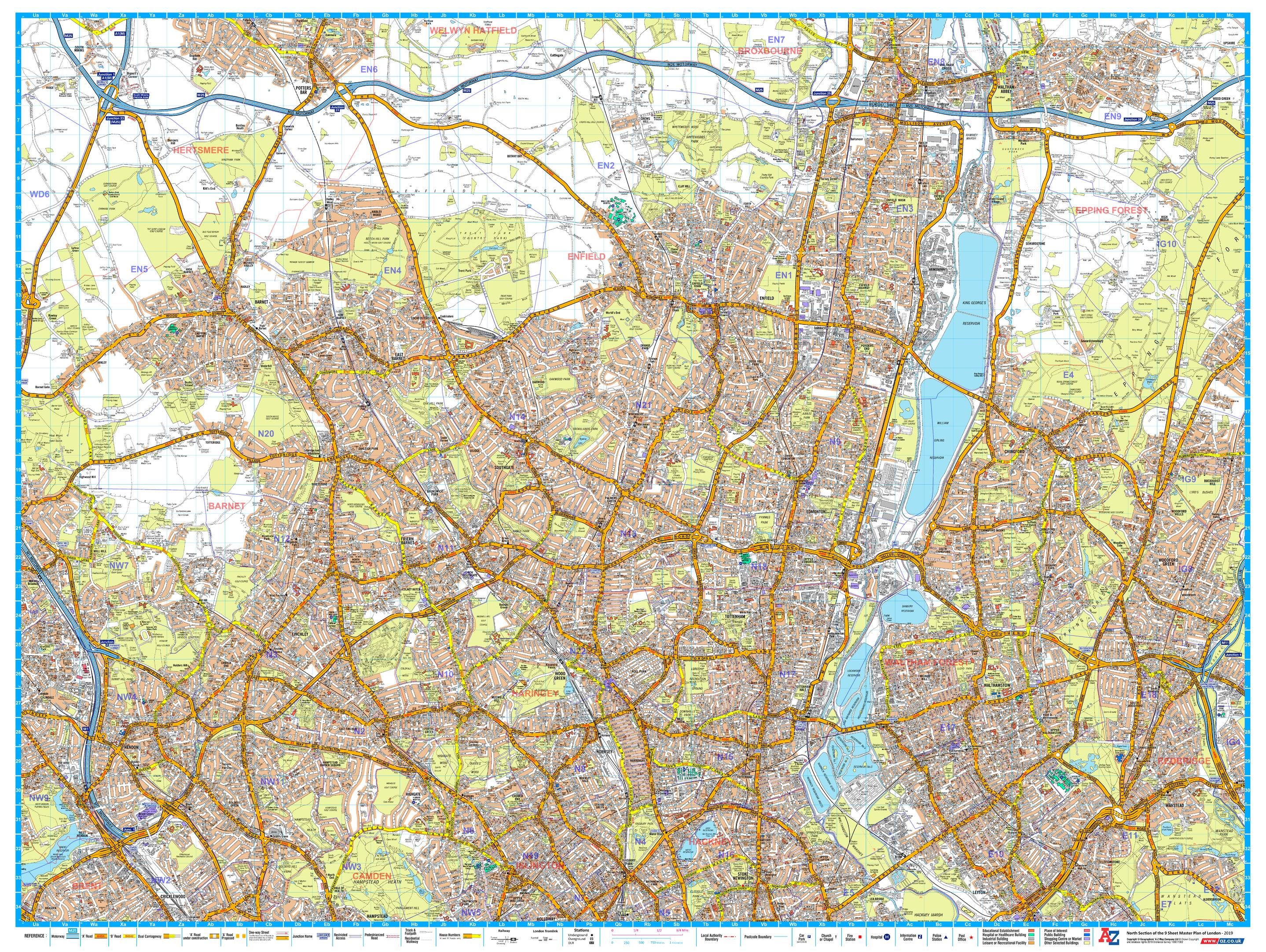 Az Street Map Of London.A Z London Master Plan North