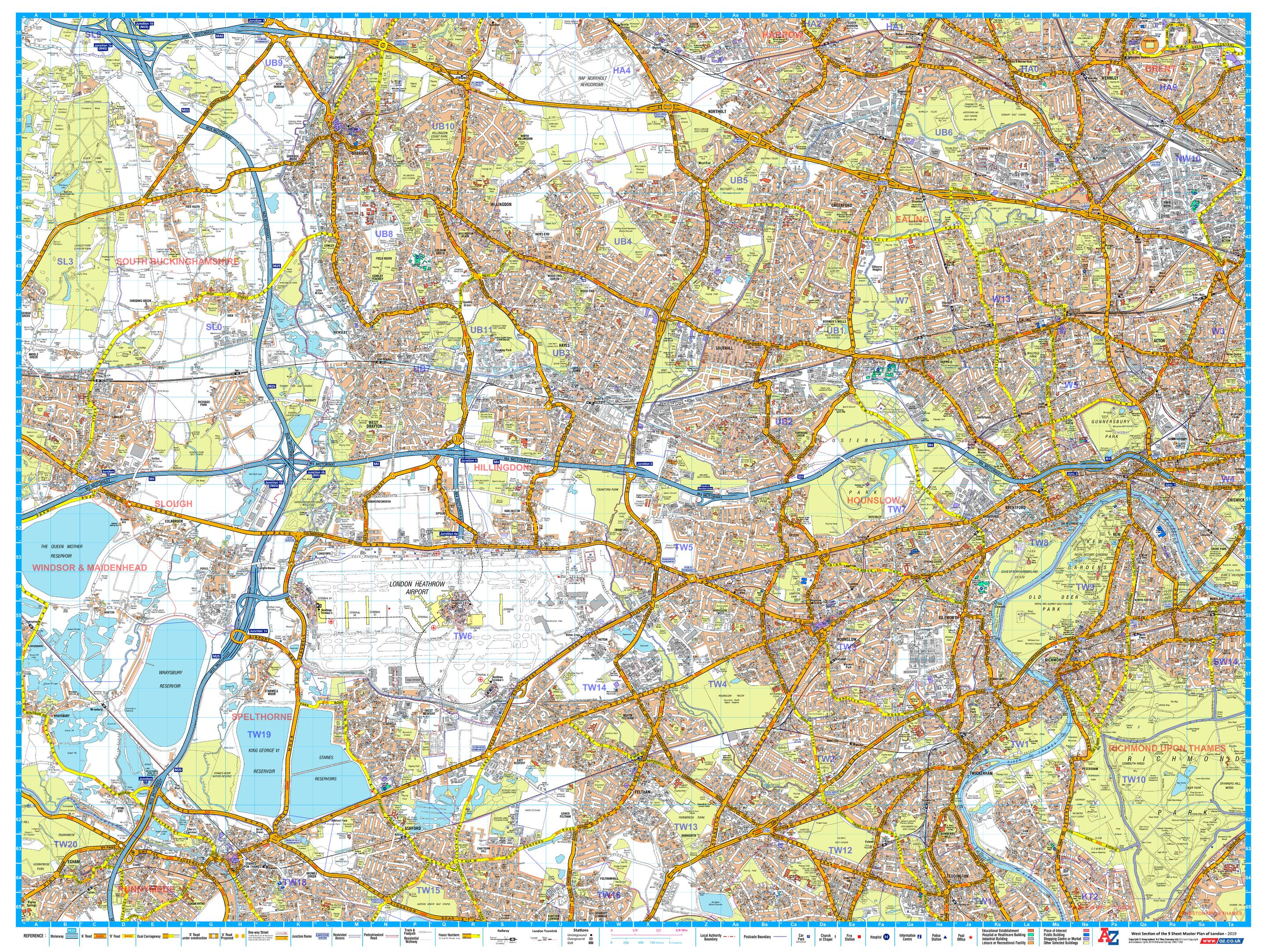 Az Street Map Of London.A Z London Master Plan West