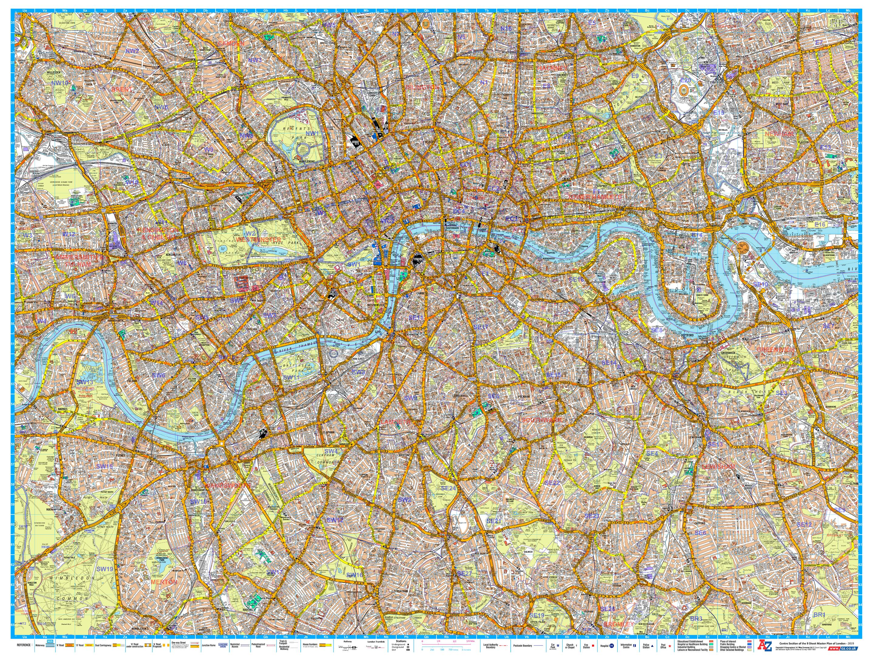 Az Street Map Of London.A Z London Master Plan Central