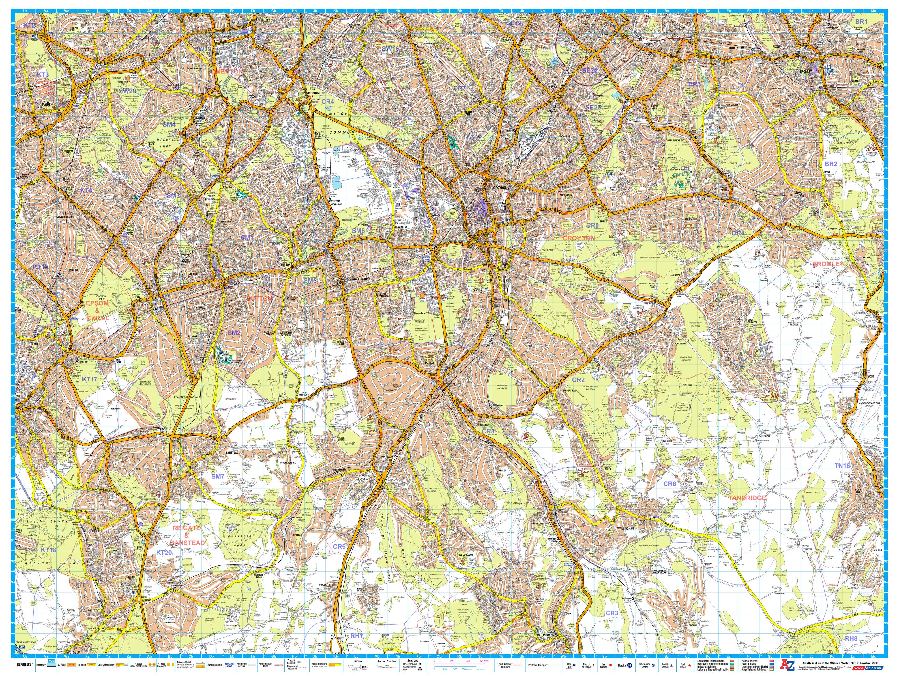 Az Street Map Of London.A Z London Master Plan South
