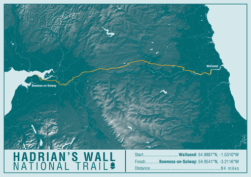 Hadrian's Wall Path National Trail Map Print