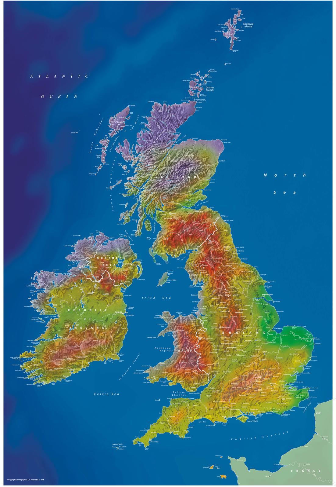Artistic British Isles Wall Map