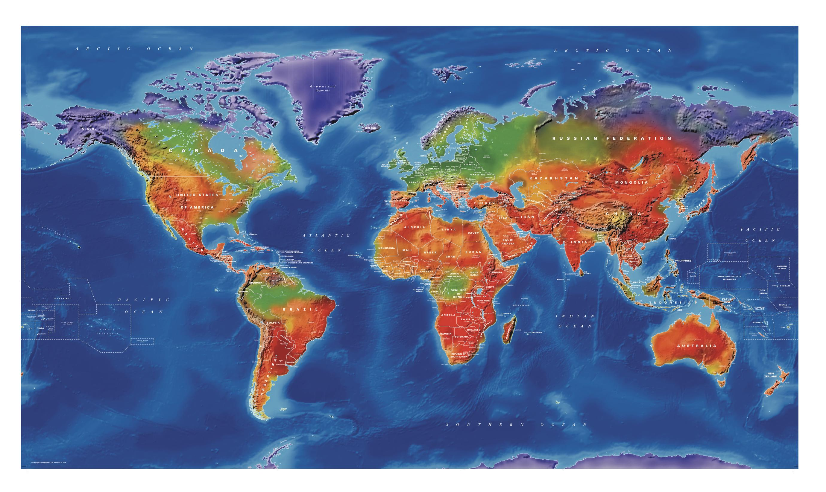 Artistic World Wall Map - Large