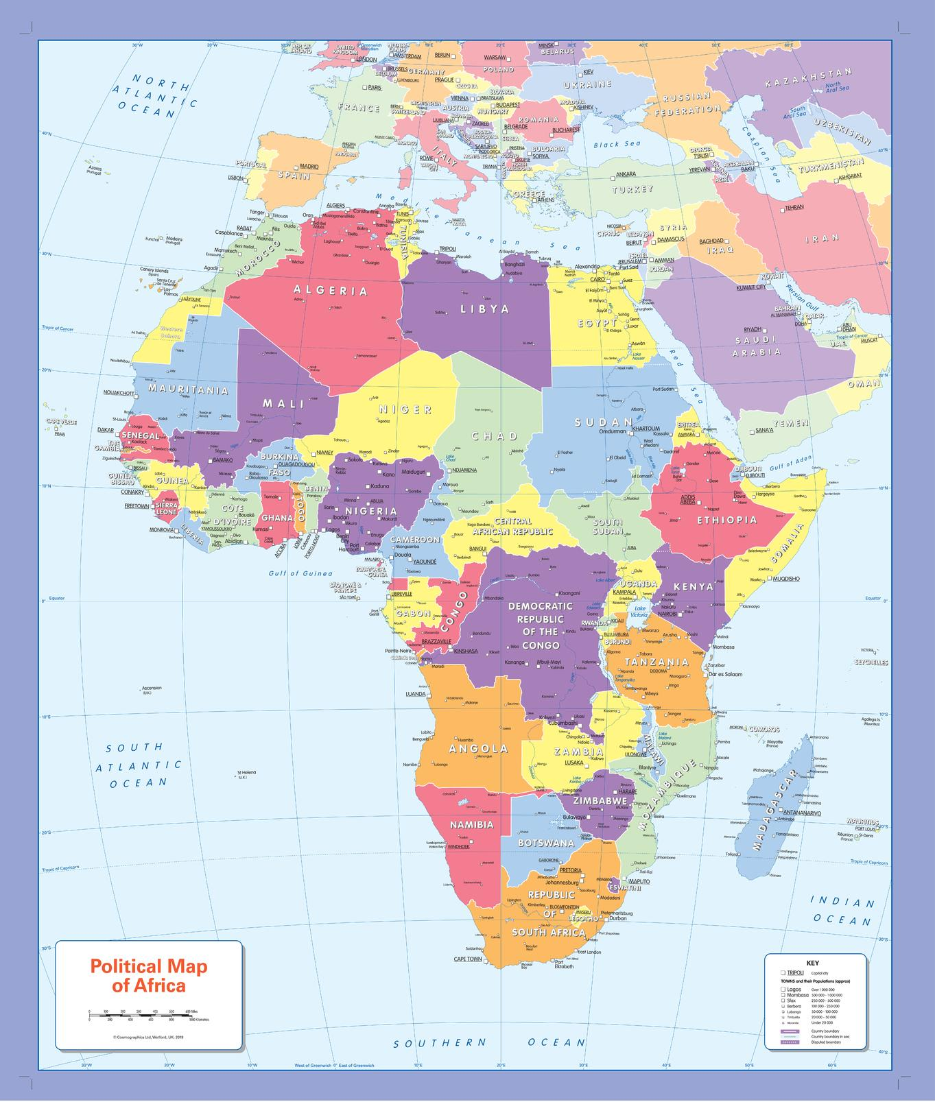 MapSherpa Cosmographics - Easy to read world map