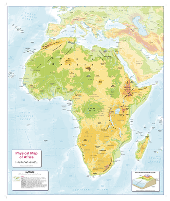 Colour Blind Friendly Children's Physical  Map of Africa