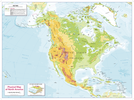 Colour Blind Friendly Children's Physical Map of North America