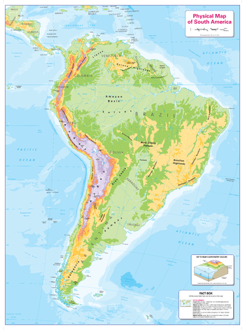 Colour Blind Friendly Children's Physical Map of South America