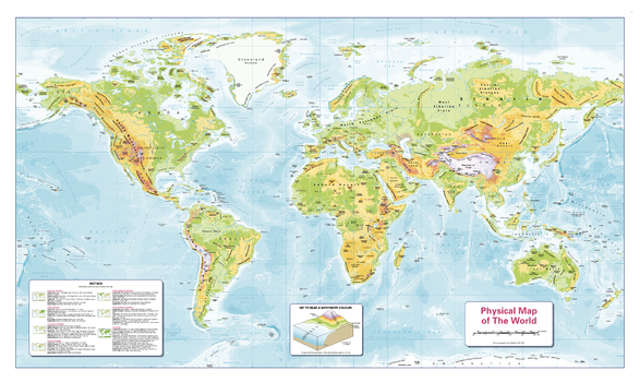 Colour Blind Friendly Children's Physical Map of the World