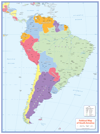 Colour blind friendly Political Wall Map of South America