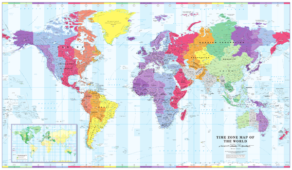 Colour Blind Friendly Time Zone Wall Map of the World - Large