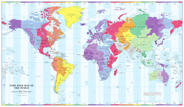 Colour Blind Friendly Time Zone Wall Map of the World