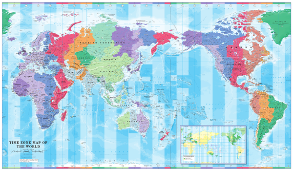 Pacific Centred Time Zone Wall Map of the World - Large