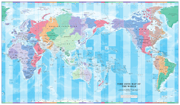 Pacific Centred Time Zone Wall Map of the World