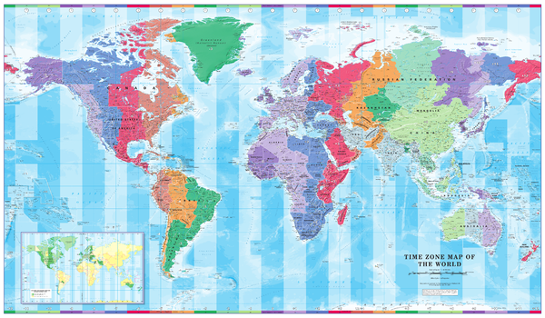 Time Zone Wall Map of the World - Large
