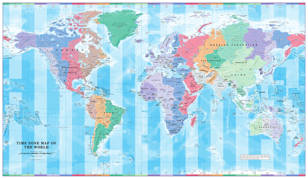 Time Zone Wall Map of the World