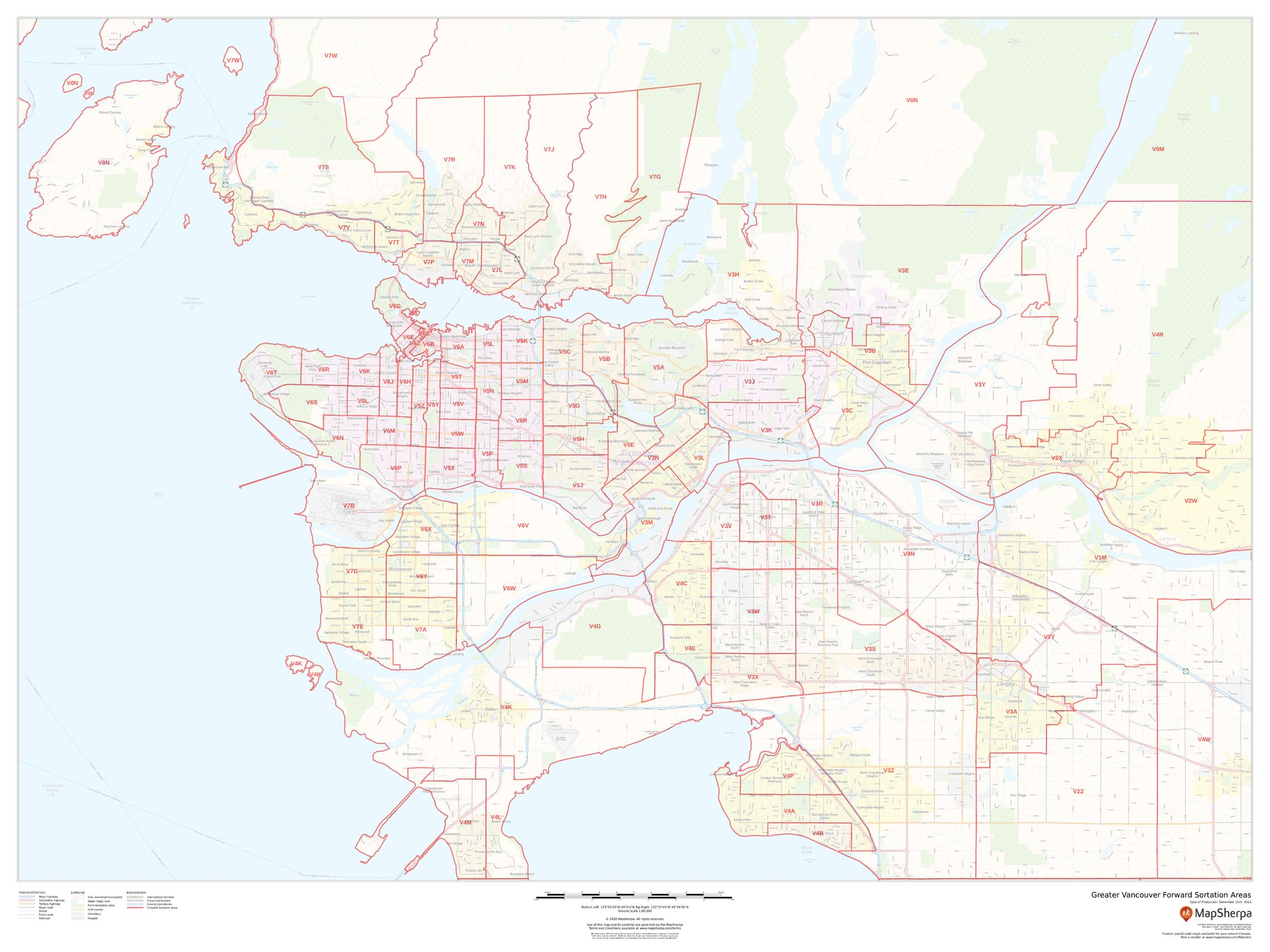 Greater Vancouver Postal Code Forward Sortation Areas