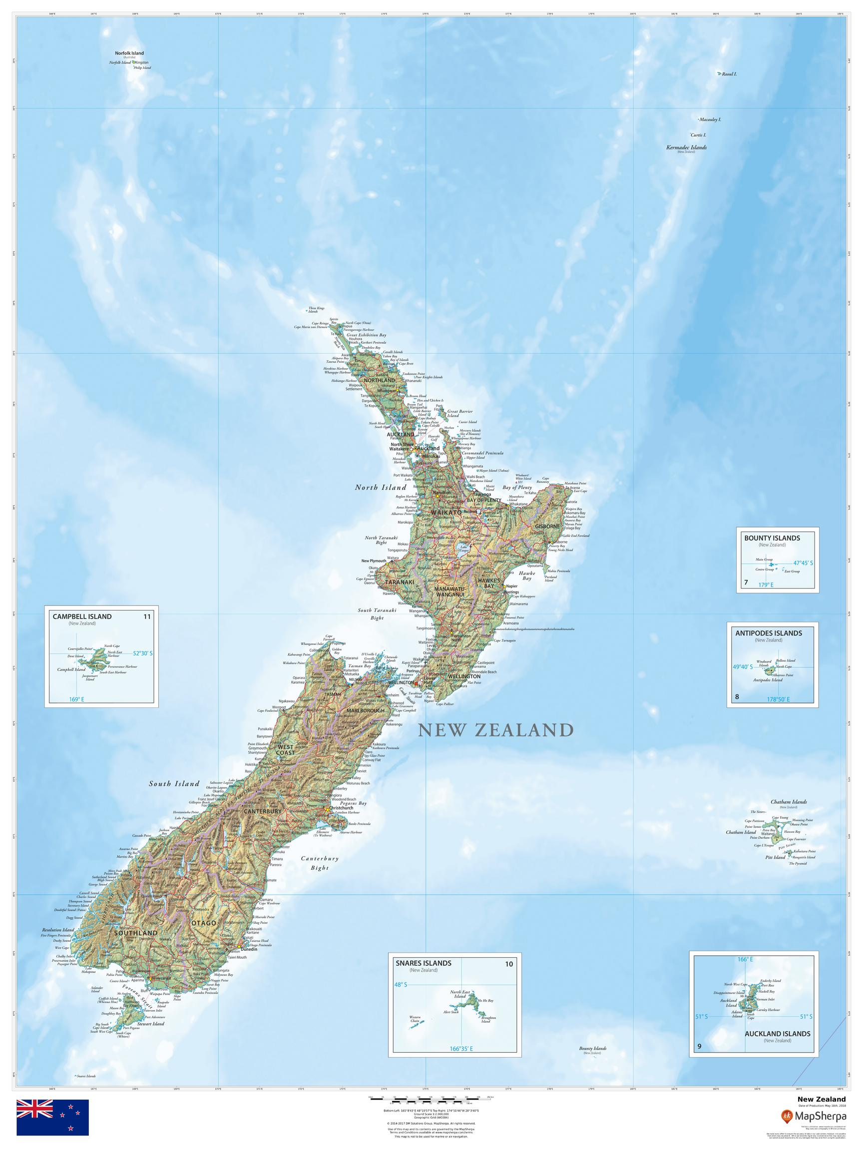 Show Map Of New Zealand.New Zealand